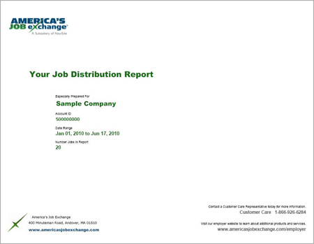 America's Job Exchange Job Distribution Report